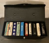 Lot of 10 - 8 Track Tapes and Carrying Case