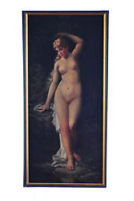 """Charles Grant Beauregard """"Nude Female Nymph"""" Oil Panting on Canvas c.1893"""