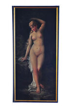 "Charles Grant Beauregard "" Nude Nymph "" Art Nouveau Oil Panting on Canvas c.1893"