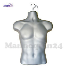 Male Mannequin Torso - Grey (Silver) Men Hanging Dress Form