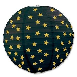 "3 Black Paper Lanterns with Gold Stars 9.5"" Dia Wedding Party Decorations"