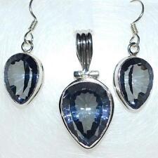 Sterling SILVER SET Blue Mystic Quartz 925 Pendant, drop Earrings; Jewellery Set