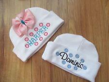PERSONALIZED MONOGRAM CUSTOM Baby Newborn Hospital Hat Cap Beanie Polka Dot Pink