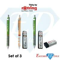 Set of 3 Rotring Tikky Rubber Grip Mechanical Pencils 0.5 + Lead + Eraser