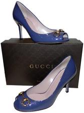 "GUCCI ""Jolene"" Blue Patent Leather Gold Horsebit Pump 39-9 Micro Gucissima Heels"