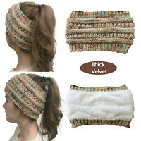 Women Winter Ear Warm Thick Fleece Knit Headband Wrap Wide Crochet Hair Band Hat