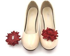 GENUINE LEATHER bright red flower shoe clips | Wedding bridal rose shoe clips