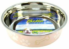 """LM Loving Pets Stainless Steel & Light Pink Dish with Rubber Base M 6.75"""" Diam"""