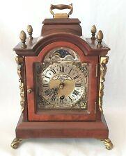 Warmink Clock Dutch Shelf Moon Dial Nut Wood 8 Day Key Wind Vintage