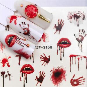 Nail Art Stickers Water Decals Transfers Halloween 2021 Blood Hands Vampire Lips