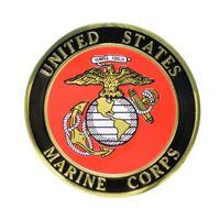 "USMC Marine Corps Trophy Plaque Insert Medallion 2"" Etched Enameled Adhesive"