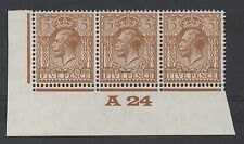 GV - N40(2) 5d dp brown Control A24 strip x 3. Superb unmounted mint. Scarce!