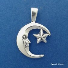 .925 Sterling Silver Crescent MOON And STAR Man In Moon PENDANT - lp2681