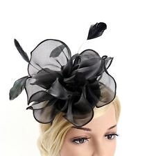 STUNNING BLACK SINAMAY FASCINATOR WITH ORGANZA AND FEATHERS ON A BLACK HEADBAND