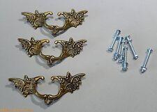 Vintage 3 french provincial brass drawer pull ornate pediment furniture