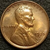1935 S Lincoln Cent Wheat Penny 1c BU Extra Fine Uncirculated Toned Coin - P2263