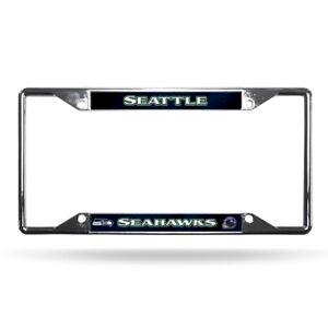 Seattle Seahawks NFL Chrome EZ View 4 corner License Plate Frame