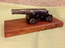 Vintage Cast Display Cannon ~ circa 1700's Style on Naval Carriage + Wood Base