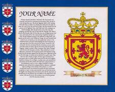 """HERITAGE COAT OF ARMS SCOTLAND & YOUR SURNAME HISTORY PRINT 10"""" x 8"""" & FREE GIFT"""