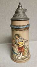Antique Merkelbach & Wick Beer Stein Pewter Lid 1879-1921 Courting Couple