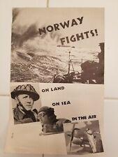 Original WW 2 1943 Norway Fights Germany Axis Brochure Royal Norwegian
