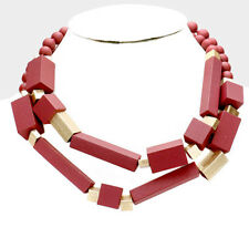 MARNI H&M Double Strand Metal Wood Red  Necklaces