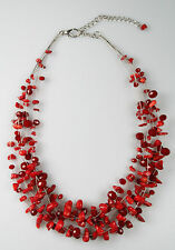 Maxine Denker MD0007NE 18 inch Coral Chip and Glass Cluster Illusion Necklace