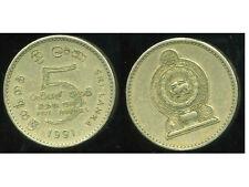 SRI LANKA  5 rupee 1991   ( bis )