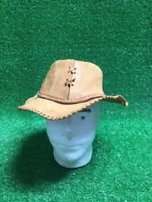 Crocodile Dundee Tan Leather Fedora / Cowboy Hat USA Costume Fits On Mannequin