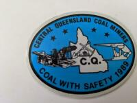 Retro Mining Sticker - Central Queensland Coal Miners -Coal with Satety 1989 Bl