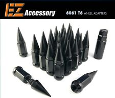 "24 Pc Short Spike Lug Nuts Black 14x1.5 Chevy GMC 3"" Long 