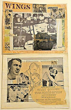 """(2) Home-Made 11""""x14"""" LOBBY CARDS Gary Cooper - WINGS & THE PRIDE OF THE YANKEES"""