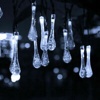 New Style 30 LED Raindrop Solar Powered Outdoor String Lights for Garden Party