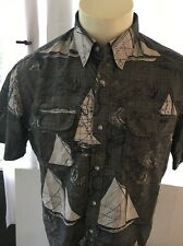 Chaps Mens Button Front Short Sleeve Shirt Size L Camp Casual Green