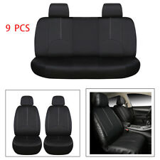 9 PCS Leather Car Seat Covers Full Set Black Front Rear Seat Cushions Universal