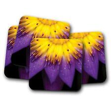 4 Set - Purple Lotus Flower Coaster - Flowers Floral Pretty Nature Gift #16654