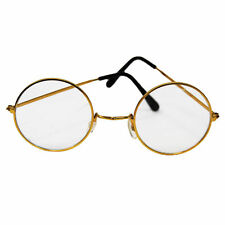 Santa Lennon Hippie Round Glasses Christmas Costume Gold Frame Clear Lens 60s