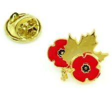 Remembrance Day Pin Canada Maple Leaf and Red Poppy