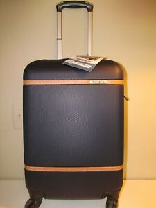 Samsonite Expandable Carry On Spinner Black with British Saddle Accents, NWT