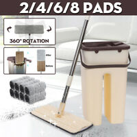 Flat Squeeze Mop & Bucket Easy Cleaning Hand Free Wringing Mops Microfiber Pads