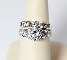 Stunning Sterling Silver Cubic Zirconia Wedding Ring Set Size 7 - 53