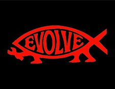 "EVOLVE VINYL WINDOW DECAL RED 3x8.5"" FISH CHRISTIAN JESUS DARWIN ATHIEST"