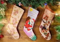 Beautiful Floral SantaClause Teddy Bear Handmade Needlepoint Christmas Stocking
