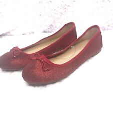 Cat & Jack Girls Sz 4 Red Glitter Ballet Slippers Slip Ons - New without tags
