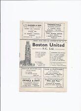 Boston United v RAF Cranwell 7 November 1957 Friendly
