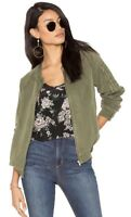 NWT Women's Sanctuary Olive Green Linen Blend Pilot Bomber Jacket Sz L Large