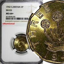 Great Britain George VI Brass 1942 3 Pence WWII Issue NGC MS64+ KM# 849