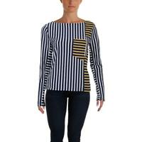 Derek Lam 10 Crosby Womens Striped Patchwork Pullover Top Shirt BHFO 4766