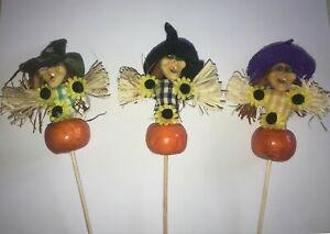 Halloween Witches on Pumpkin Decoration Sticks 30cm Novelty Fun