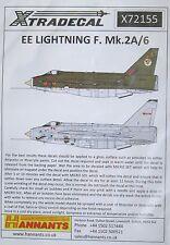 XTradecal 1/72 x72155 English Electric Lightning Mk.2 A / 6 Decalcomania Set